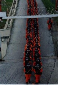 Members of the Orange Crush prison guards in formation