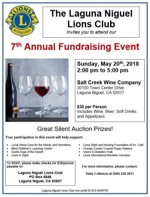Laguna Niguel Lions Club Fundraiser
