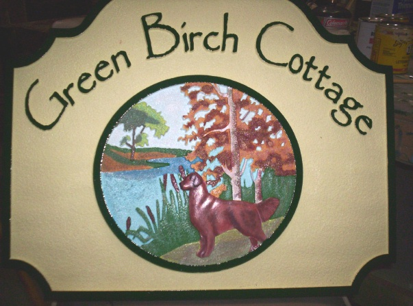 M22416 - Carved Sign for Green Birch Cottage with Dog by River