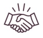line drawing of two people shaking hands