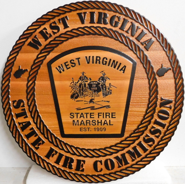 W32531 - Carved 2.5-D and Engraved Wall Plaque for the West Virginia State Fire Commission