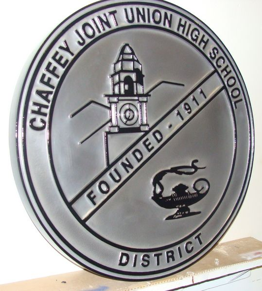 Y34760 - Carved 2.5-D  (Flat-Relief and Raised Outline)  HDU Wall Plaque of the Seal of the Chaffey Joint Union High School