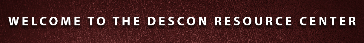 Graphic saying Welcome to Descon Resource Center which has links to helpful items from Descon signage company