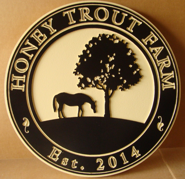 "P25094 - Engraved HDU ""Honey Trout"" Farm Sign with Silhouette of Tree and Horse Grazing"