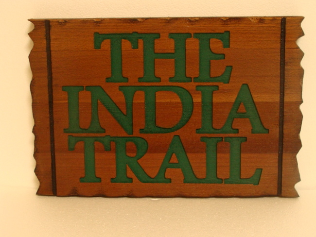 "G16157- Engraved Cedar Wood ""The India Trail""  Identification Sign"
