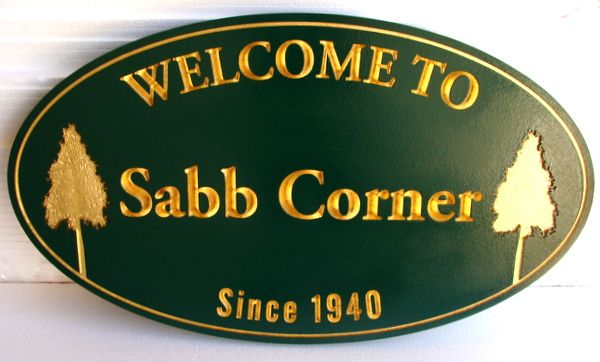 F15090 - Sandblasted and Engraved Town Welcoming Sign with Gold Leaf