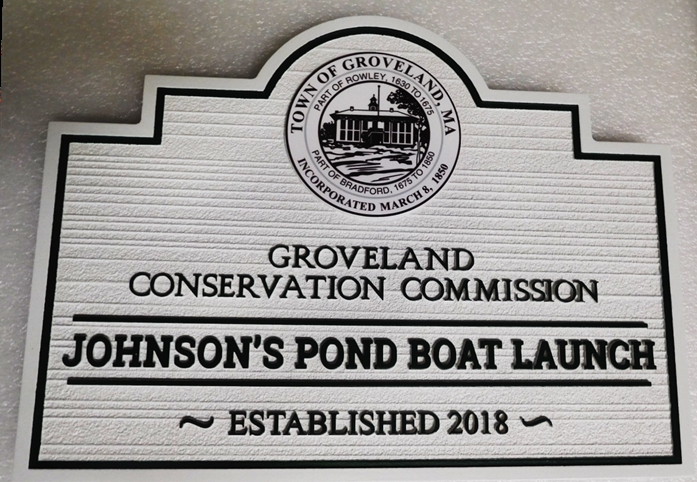 GA16499 - Carved  Entrance Sign  for Johnson's Pond Boat Launch Park, with Engraved Seal of Groveland, MA