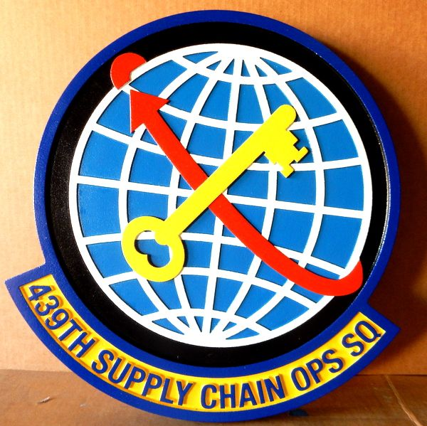 V31640 -Carved, 3D, Wall Plaque of the Crest for the US Air Force 439th Supply Chain Ops Squadron, with Globe and Lighting