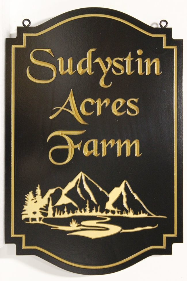 "M22205 - Carved Engraved HDU Sign ""Sudystin Acres Farm"", with a Meadow, River ,Trees, and Mountain as Artwork,"