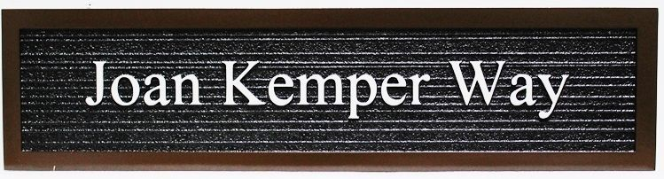 H17089 - Carved and Sandblasted Wood Grain 2.5-D  HDU Street Name Sign for Joan Kemper Way