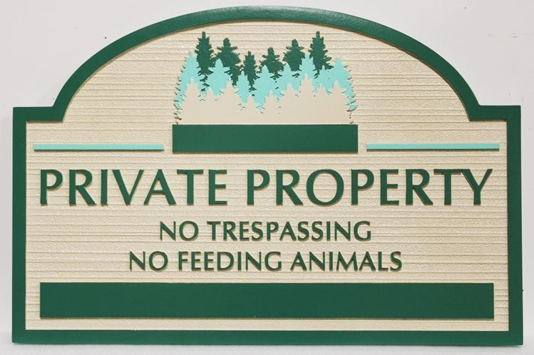 """O24899 - Carved and Sandblasted Wood Grain 2.5-D Multi-level Relief HDU Sign  """"Private Property - No Trespassing""""with a Grove of Evergreen Trees as Artwork"""