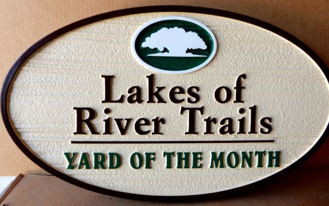 "KA20917 - Woodgrain Sandblasted HDU Yard-of-the-Month Sign for ""Lakes of River Trails"" HOA with Tree Artwork"