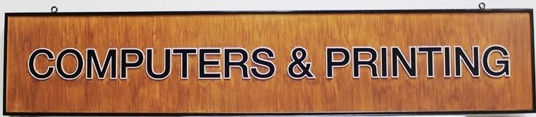 """SA28841 - Carved  2.5-DHDU  Sign for the """"Computers & Printing"""" Store, with Background Painted in a Stained Wood Pattern"""