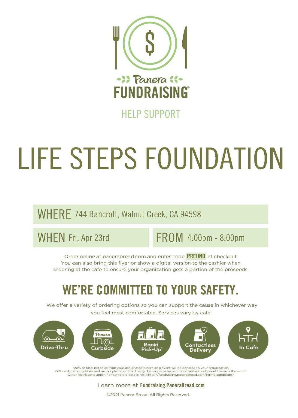 Panera Bread Fundraiser at Walnut Creek, CA - April 23, 2021