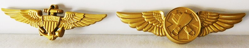 V31231 -  Carved 3-D Naval Aviator and Swimmer Badge Wall Plaques