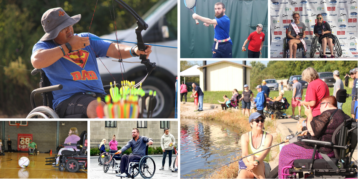 Photo collage of people with disabilities engaging in different sports