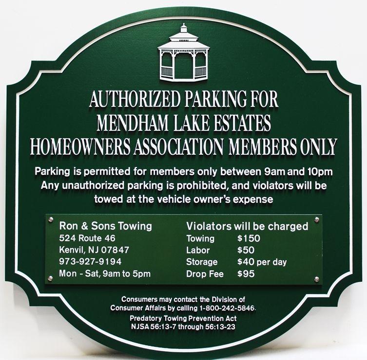 "KA20626 - Engraved  ""Authorized Parking "" sign for Mendham Lake Estates"""
