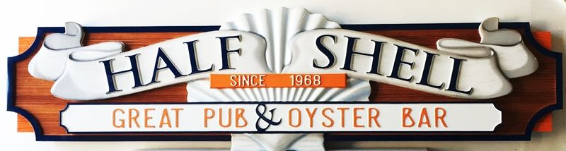 Q25105 - Decorative Carved Wood and High Density Urethane Sign for Restaurant Oyster Bar and Pub