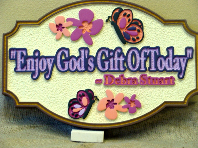 "N23006 - ""God's Gift of Today"" Carved  Wall Plaque"