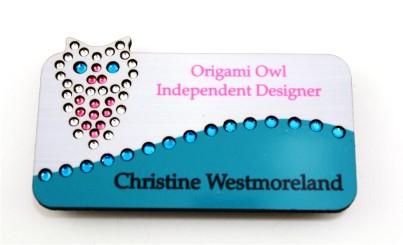 Owl Swirl Bling Name Badge