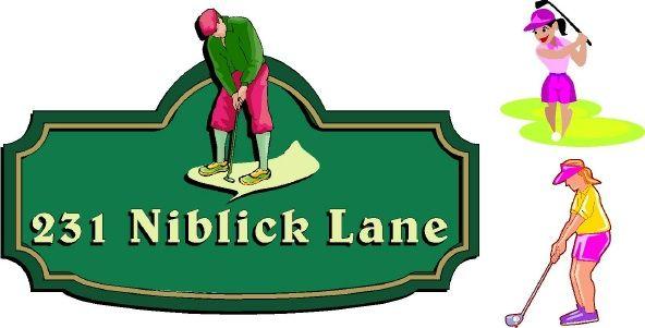 I18656- Carved Address Sign, with Golfer as Artwork