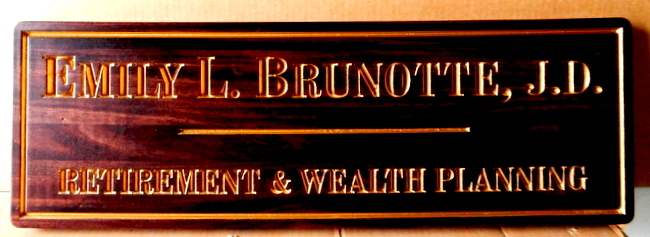 C12020 - Carved Engraved Mahogany Plaque for Office of Retirement and Wealth Planning