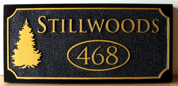 M22087 - Sandblasted HDU Address Sign for a Cabin. with Fir Tree