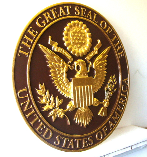 U30047A- Gold Leaf on Bronze, Great Seal of the USA, Wall Plaque (side view)