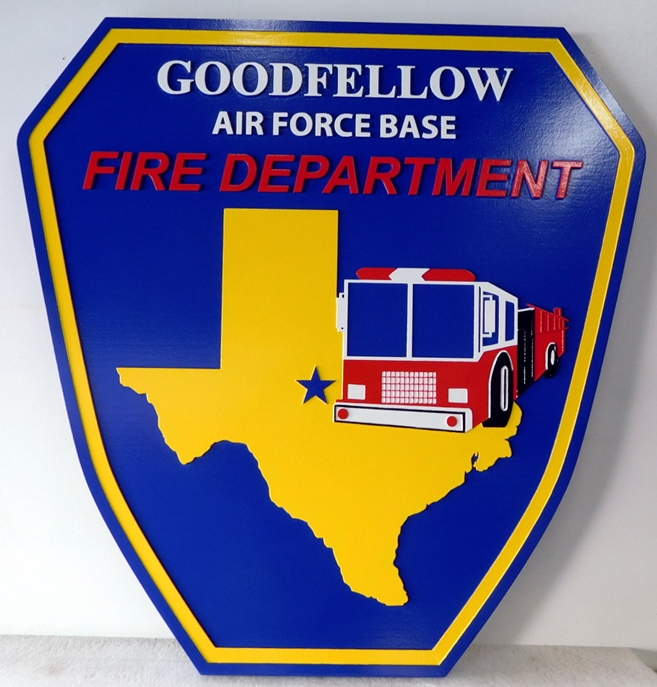 QP-2110 - Carved Wall Plaque of  the Shoulder Patch of the Goodfellow Air Force Base Fire Department,  Artist Painted