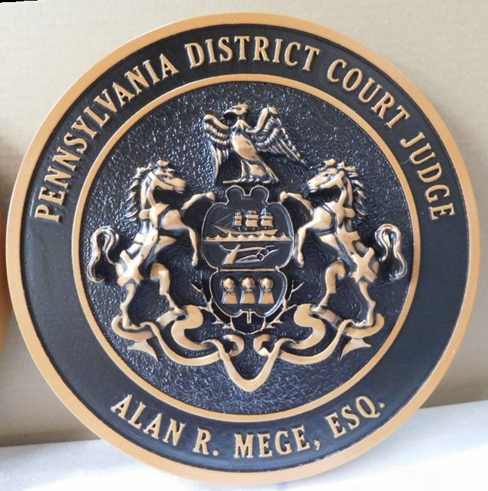 BP-1482 - Carved Plaque of the Seal of the State of Pennsylvania (Coat of Arms version) , Artist Painted and Hand Rubbed Black Over Bronze