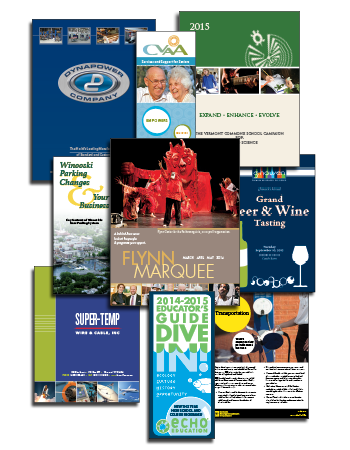 collage of printed brochures and flyers