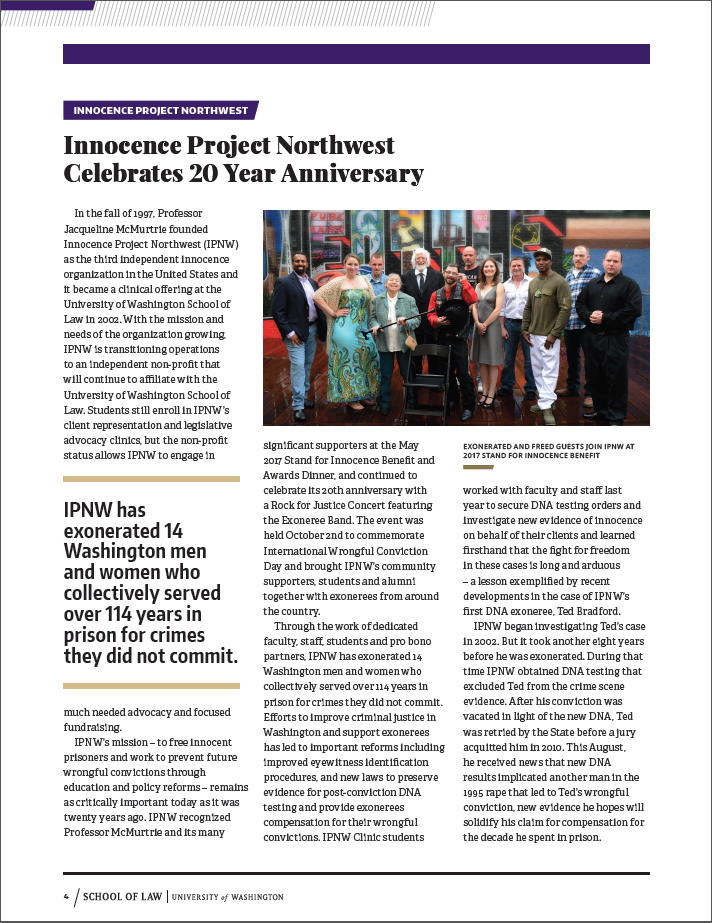 IPNW Clinics Highlighted in UW Law Experience Matters Newsletter