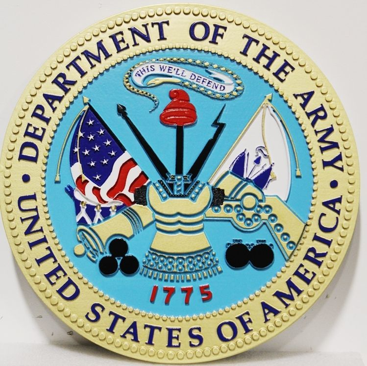 MP-1043 - Carved 2.5-D HDU Plaque of the Seal  of the United States  Army