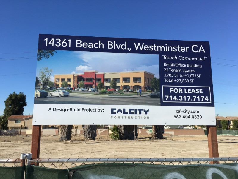 Construction Jobsite For Lease Commercial Property Signs Orange County CA