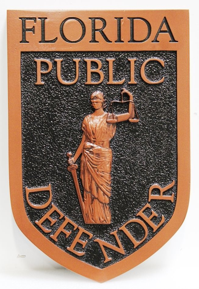 GP-1431 - Carved 3-D and Sandblasted HDU Plaque of the Seal of a Public Defender of the State of Florida