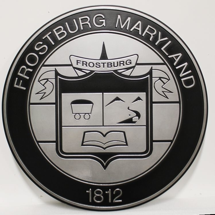 DP-1508 - Carved 2.5-D Aluminum-plated HDU Plaque of the Seal of the of City of Frostburg, Maryland