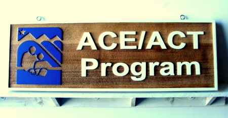 "SA28478 - Wooden Sandblasted ""College Testing-ACE/ACT Program"" Business Sign"