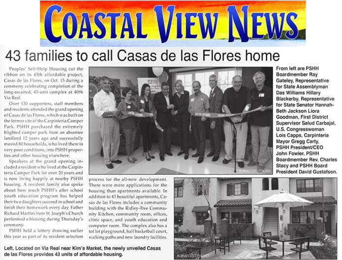 43 Families to Call Casas de las Flores Home - Coastal View News