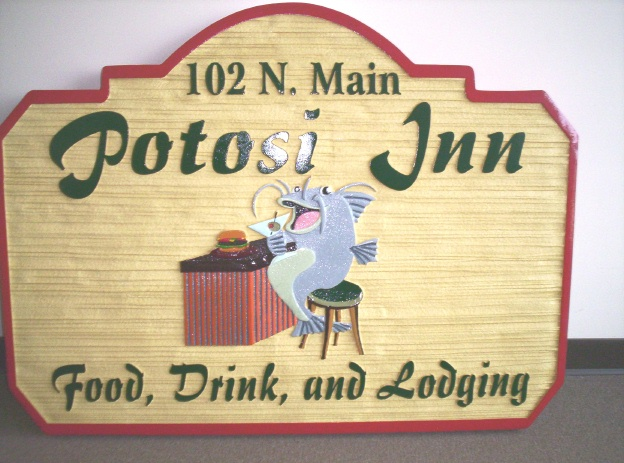 "RB27133 - Carved HDU ""Potosi Inn"" Bar and Grill Sign, with Happy Catfish"