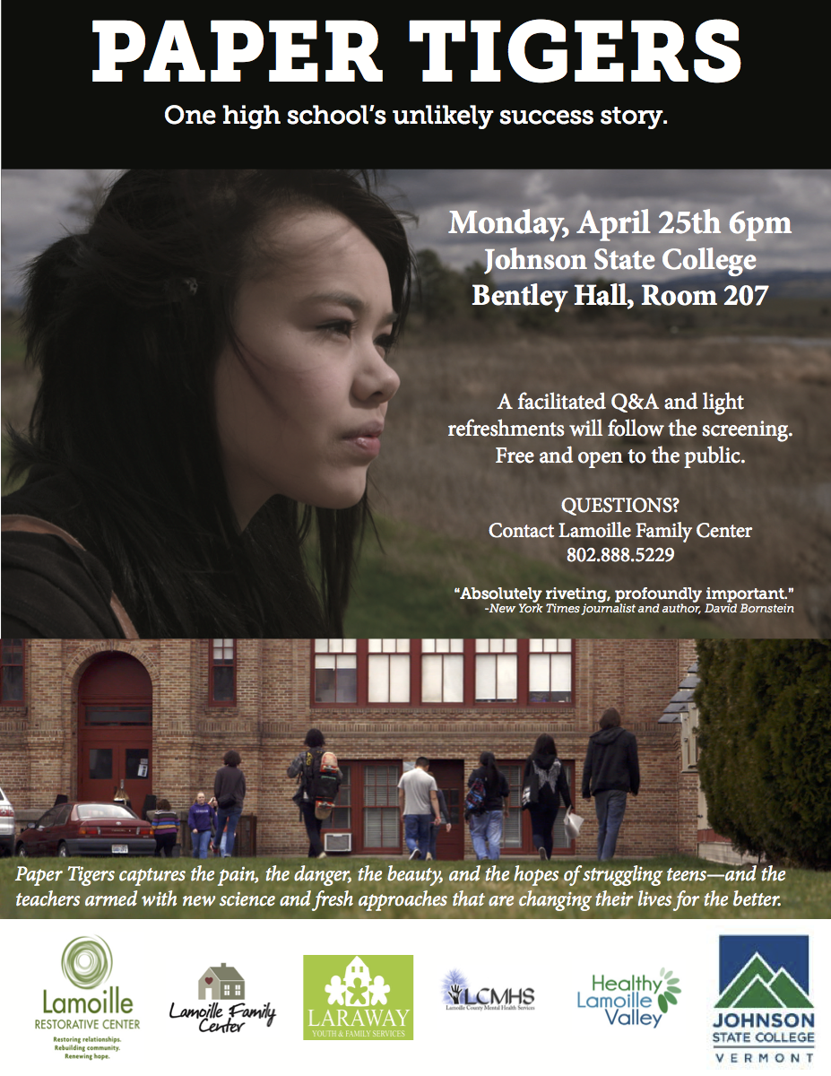 "Free Screening of Film ""Paper Tigers"" at Johnson State College"