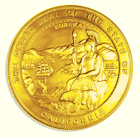 M7310 - 24K Gold-Leaf Gilded 3D Carved Bas-Relief Wall Plaque of the Great Seal of California