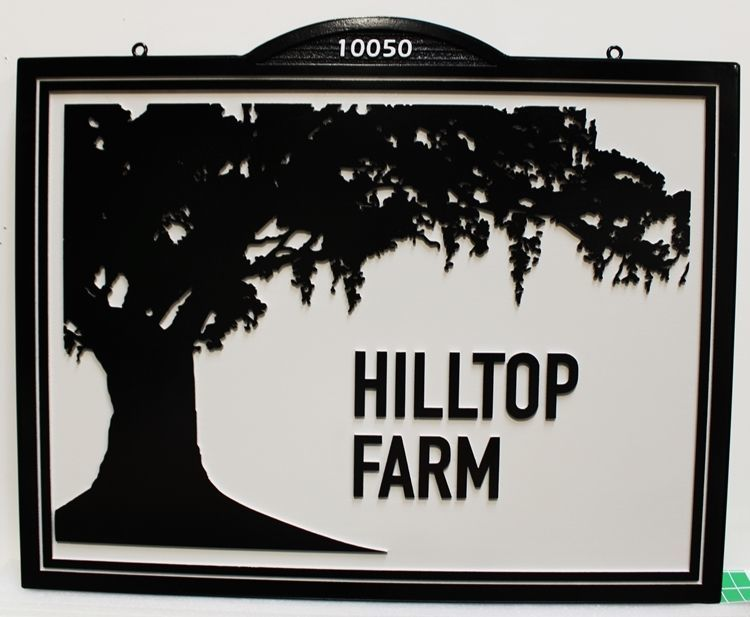 O24869 -  Carved HDU Entrance Sign for the Hilltop Farm, with the Silhouette of a Magnolia Tree as Artwork