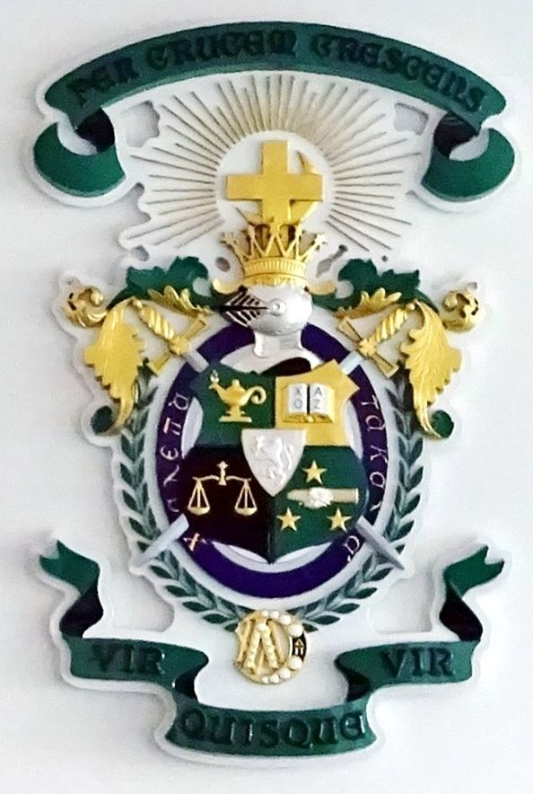 SP-1060 - Carved Wall Plaque of the Coat-of-Arms / Crest for Lambda Chi Alpha Fraternity, Cornell University,  Gold and Silver Leaf Gilded