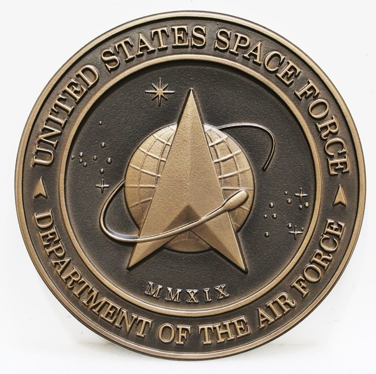 V31516B - Carved  3-D Bronze-plated HDU  Plaque of the Seal of the US Space Force