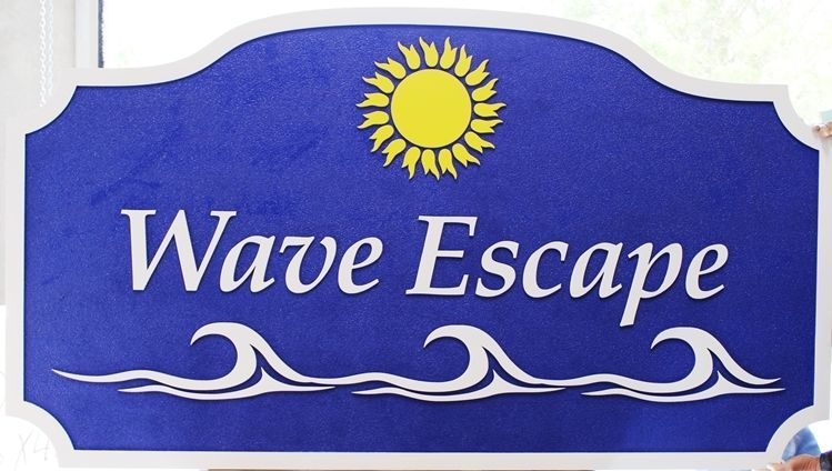 "L21183 - Carved 2.5-D Multi-level Relief HDU Beach House Name  Sign ""Wave Escape"", with Waves and Sun as Artwork"