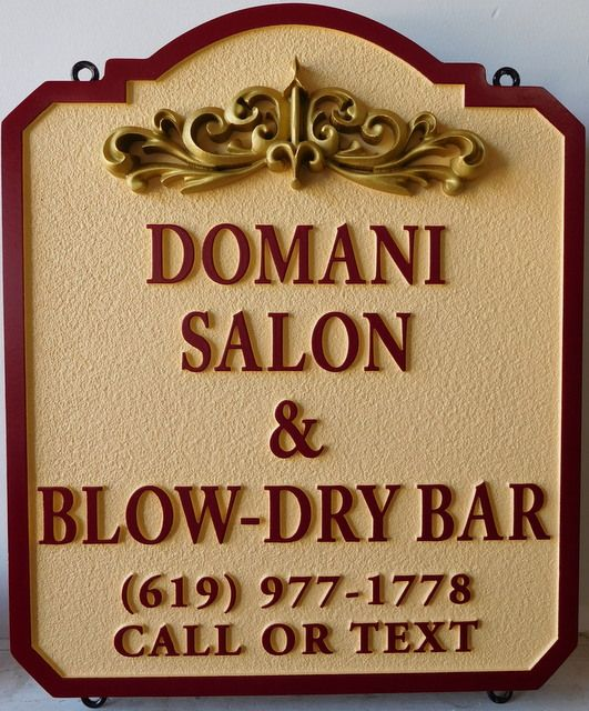"SA28323 - Elegant Carved and Sandblasted HDU ""Domani""  Hair Salon Sign, with 3-D Carved Flourish"