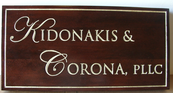 C12078 - Carved Dark Wood Professional Office Sign, with Gold Text and Border
