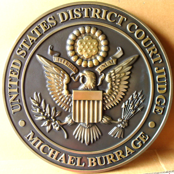 A10853 – Carved 3-D Brass Courtroom  Wall Plaque, for US District Court