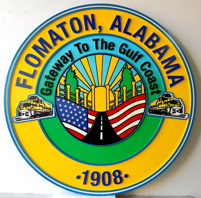 X33077 - Carved Wall Plaque of the Seal of Flomaton, Alabama, with US Flag and Trains as Artwork