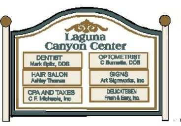 S28017 - Large Directory Sign for Shopping Center , with 6 Replaceable Store Signs, Mounted BetweenTwo Wood Posts